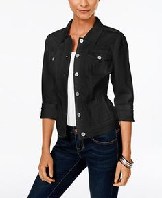 Style & Co. Deep Black Wash Denim Jacket, Only at Macy's