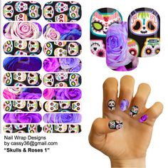 Gorgeous custom made nail wraps - sugar skulls and roses in brights.  If interested please email me cassy36@gmail.com CLICK PHOTO TO ORDER #purple #sugarskulls #sugarskullnail #nailart #diy #manicure #pink #jamberry