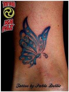 Blue Tribal Butterfly Tattoo