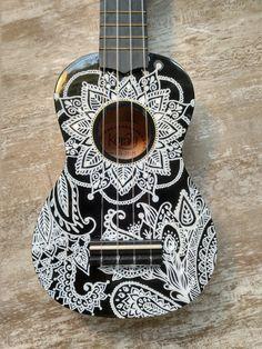 Ukulele Art, Ukulele Songs, Guitar Art, Cool Guitar, Guitar Painting, Dot Art Painting, Painted Ukulele, Ukulele Design, Guitar Chords Beginner
