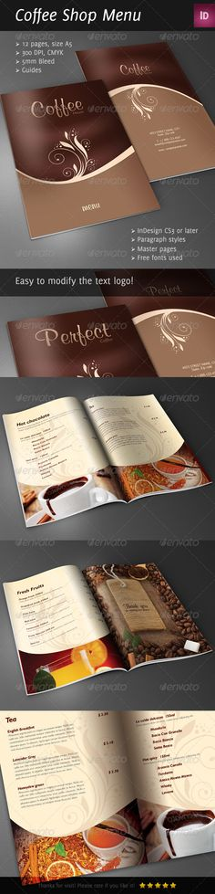 Coffee Brochure Template A4 | Brochure Template, Brochures And