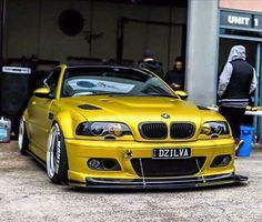 BMW E46 M3 yellow slammed