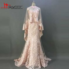 Real Picture 2016 Best Selling Champagne Pink Sweetheart Mermaid Lace With Shawl Vintage Elegant Formal Evening Prom Dresses #Affiliate