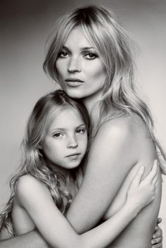 Kate Moss and daughter.