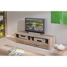 CILIAS Meuble TV, 2 niches et 2 tiroirs, bois, chêne brut 97€ au lieu de 229€ ◾Dimensions : L 150 x P 40 x H 37 cm