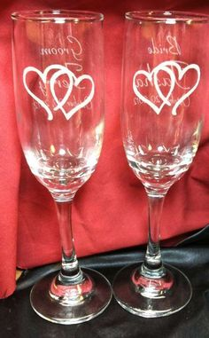 Personalized Set of Double Heart Champagne Flutes,Custom Engraved  http://www.best-engraving.com/Double-Hearts-Flutes.aspx: