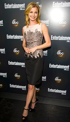 Emily VanCamp in a black, grey, and white Dior dress and Brian Atwood heels. An amazing look!