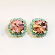 Coral aqua Clip Earrings Peach Clip On Crystal Earrings Turquoise Blue Halo Swarovski rhinestones Crystals Gold finish, Rose Peach, GE97