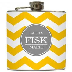 "21st birthday present! Liquid Courage Flasks: ""Full Name Monogram"" - Personalized Flask with Your Name on Chevron"