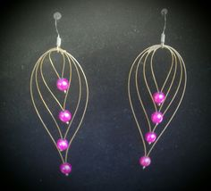 Boucles d'oreilles  (billes rose)