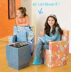 sillones hechos con cartón