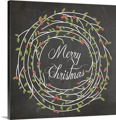 """Large square chalkboard hand lettered artwork with text inside a delicate holly berry wreath - """"Christmas Chalk III"""" wall art by Erin Clark from Great BIG Canvas Chalkboard Lettering, Chalkboard Designs, Chalkboard Calendar, Chalkboard Ideas, Chalkboard Doodles, Chalkboard Quotes, Simple Illustration, Christmas Chalkboard Art, Christmas Wall Art Canvas"""