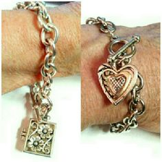 "2 SMALL 7"" SILVER CHARM BRACELETS 2 SMALL SILVER TONE CHARM BRACELETS * For SMALL 7"" Wrists * 1 Detailed Heart Charm * 1 Embossed Book that Opens Get 2 For $18 or 1 for $10! Jewelry Bracelets"