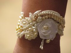 Beaded Cuff  Vintage Style Pearls Bracelet GOLDEN by carellya, $95.00