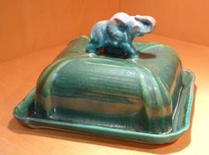 Elephant Butter Dish - Porcelain, one of a kind by Tricia McGuigan, represented by Human Arts Gallery in Ojai, CA