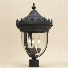 "3 Light Medium Outdoor Post Lantern Finish: Verde by JVI Designs. $750.00. 1115-25 Finish: Verde Features: -Outdoor post lantern.-Number of lights: 3. Specifications: -Bulb type: 40W Candelabra bulb. Dimensions: -Overall dimensions: 20"" H x 12"" W."