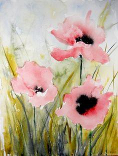 "Saatchi Online Artist: Karin Johannesson; Watercolor, 2013, Painting ""Pink Poppies III"""