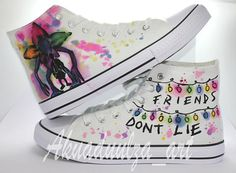 To all The Stranger Things Lovers, Unique hand painted canvas shoes! - To all The Stranger Things Lovers, Unique hand painted canvas shoes! This is my new design for this - Stranger Things Quote, Stranger Things Netflix, Stranger Things Aesthetic, Look Star, Painted Canvas Shoes, Unisex, Mode Vintage, Custom Shoes, Summer Shoes