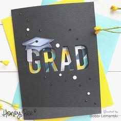 Graduation Cards, Graduation Invitations, Graduation Ideas, Honey Bee Stamps, Some Cards, Congratulations Card, School Colors, Pattern Paper, Cardmaking