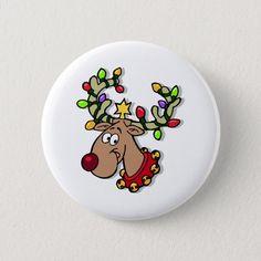 Shop Reindeer Christmas Lights Button created by ChristmasStamps. Best Christmas Lights, Hanging Christmas Lights, Christmas Rock, Mini Christmas Tree, Reindeer Christmas, Holiday Lights, Christmas Crafts, Christmas Ornaments, Christmas Vinyl