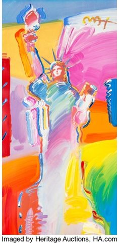 Fine Art - Painting, American:Contemporary   (1950 to present)  , Peter Max (American, b. 1937). Statue of Liberty. Colorlithograph with acrylic painting and mixed media on paper. 38 x ...