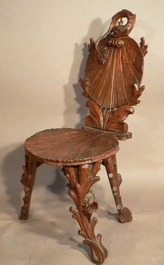 finely carved wood seashell grotto chair
