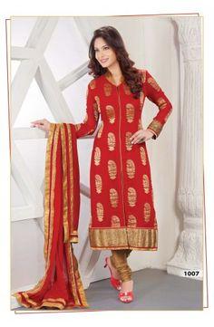 Faux Georgette Churidar Kameez-1007  Now, place your Order now : Email:- raksha@silk-india.com
