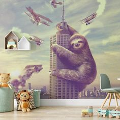 Giant Sloth Removable Animal Wallpaper, Skyscraper Peel and Stick, City View Wall Mural, Funny Wall Cling, Modern Home Decor, Wall Decal - Canvas Wall Decal / 1 roll: 24W x 132H