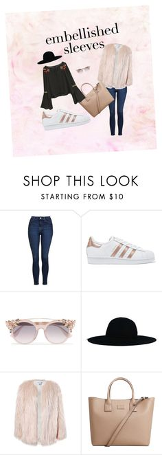 """""""embellished sleeves"""" by sara-alessandra ❤ liked on Polyvore featuring Topshop, adidas Originals, Jimmy Choo, Sans Souci and MANGO"""