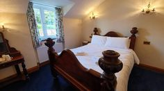 Room 12 - Lovely king sized bed with large en-suite bathroom. Country Hotel, Country House Hotels, Cornwall Hotels, Log Fires, Hotel Stay, Ceiling Beams, Stone Flooring, Fine Dining, Rooms
