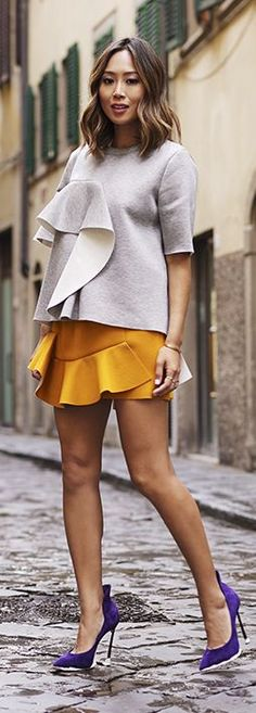 Mustard Ruffle Mini Skirt by Song Of style