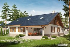 Projekt domu Rózia Energo Plus - Cabin House Plans, Dream House Plans, Small House Plans, My Dream Home, Small Rustic House, Small Cottage Homes, Village House Design, Tiny House Design, House Wiring