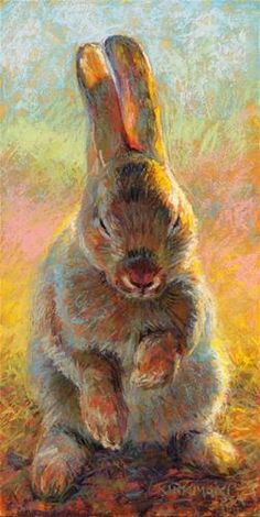 """Daily Paintworks - """"Hazel - day - Original Fine Art for Sale - © Rita Kirkman Bunny Painting, Painting & Drawing, Watercolor Paintings, Colorful Paintings, Animal Paintings, Soft Pastel Art, Rabbit Art, Bunny Art, Guache"""