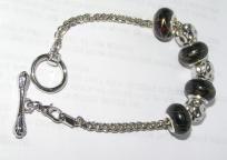 Black European Silver Bracelet Free Shipping