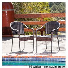Christopher Knight Home Fully Assembled Sunset Outdoor Tight-weave Wicker Chair (Set of Two) - Overstock™ Shopping - Big Discounts on Christopher Knight Home Dining Chairs Outdoor Wicker Chairs, Wicker Dining Chairs, Wicker Patio Furniture, Wicker Sofa, Outdoor Dining Set, Dining Chair Set, Outdoor Decor, Patio Dining, Outdoor Spaces