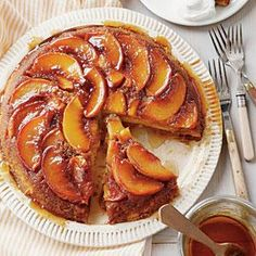 Peach Upside-Down Cake | MyRecipes.com. Peaches will turn your world right side up. Nothing's better than peaches married with tender, moist cake. Be sure to use cake flour—not self-rising—for this recipe.