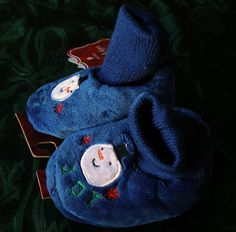 NWT Christmas Baby Infant Pre-Walk Slippers XS-1-2 Blue With Snowman Word Joy