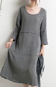 New originally designed for 2016 summer dresses. Gray summer dress linen sundresses plus size cotton maternity dress