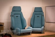 Tweed Retrim on RECARO Classics This Tweed Retrim is something a little bit different but refreshing to see. These RECAROS have been trimmed in a lovely Aqua Harris Tweed.    The seats were a bit rough when they came to us here at Edge Automotive with the usual