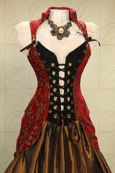 Red and Gold Swirl Buccaneer Pirate Coat by Damsel in this Dress via etsy.com