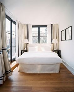 Put your bed in front of the window! A bed in front of a window, is surprisingly enough, one of my favorite looks. It especially works when the curtains are wider than the bed