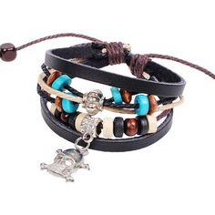 Chic Beads Skeleton Pendant Layered Bracelet For Women