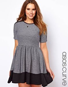 Enlarge ASOS CURVE Skater Dress In Color Block