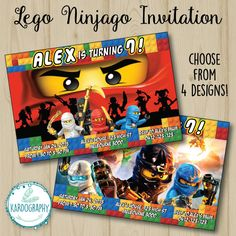 Lego Ninjago Invitation. Choose from 4 Designs and by Kardography