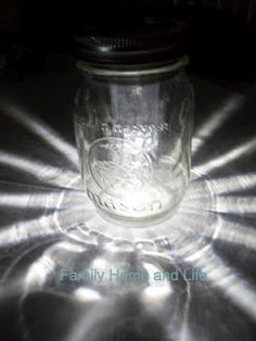homemade solar light mason jars-this is what we are using during our power outage. Safer than candles and no batteries!!