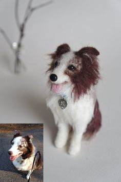 Custom Dog Portrait: Needle Felted Austrailian Aussie Shepherd, Your Mini Pet…