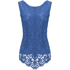 Womens Fashion Lace Crewneck Sleeveless Blouse Sapphire Blue ($14) ❤ liked on Polyvore featuring tops, blouses, crew-neck tops, crew top, lacy tops, blue sleeveless blouse and sleeveless lace blouse