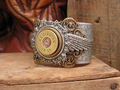Shotgun Casing Jewelry - 12 Gauge Shotgun Shell Steampunk Inspired Mixed Metal Cuff Bracelet. $95.00, via Etsy.