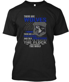 Police Shirt: There Are Sheepdog Black T-Shirt Front