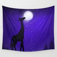 Wall Tapestries featuring watch out here lives a hungry giraffe. by Nancy Woland
